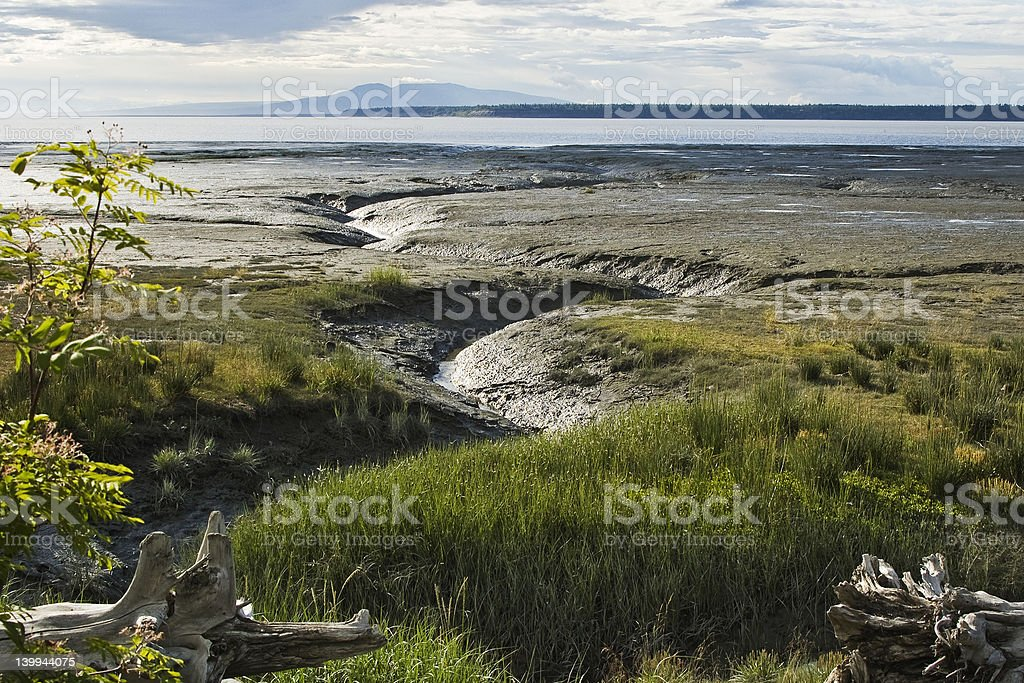 Anchorage Alaska mud flats from Tony Knowles Coastal Trail stock photo