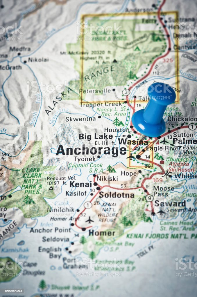 Anchorage, Alaska on a map stock photo