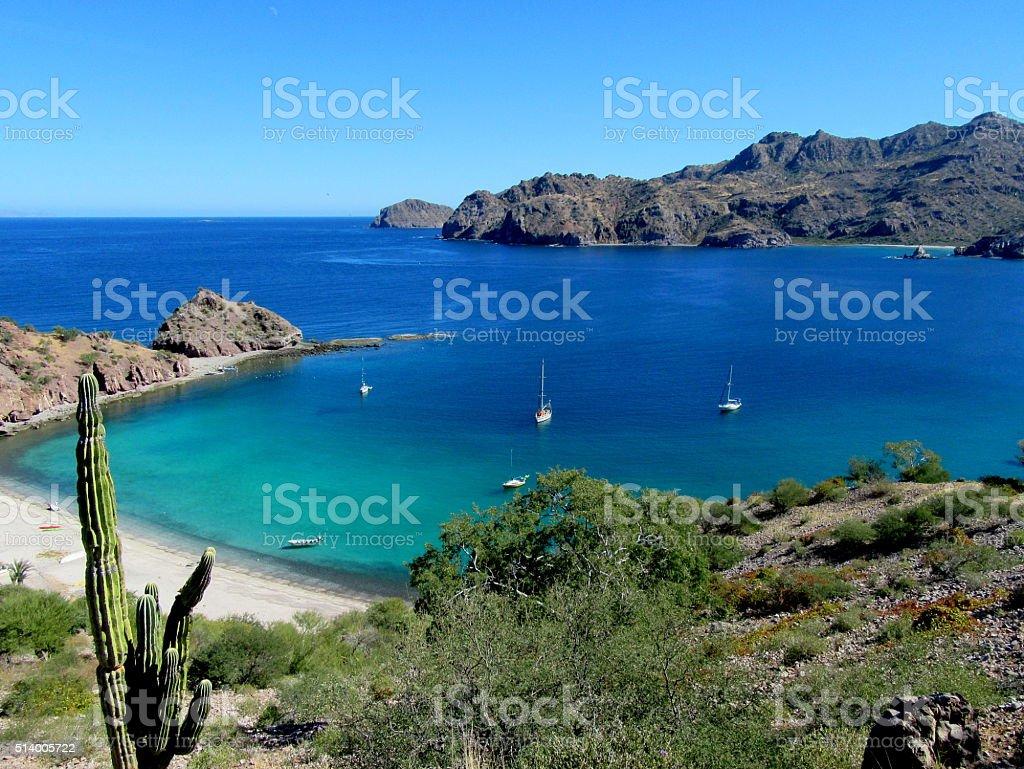Anchorage at Agua Verde, Baja del Sur, Mexico stock photo