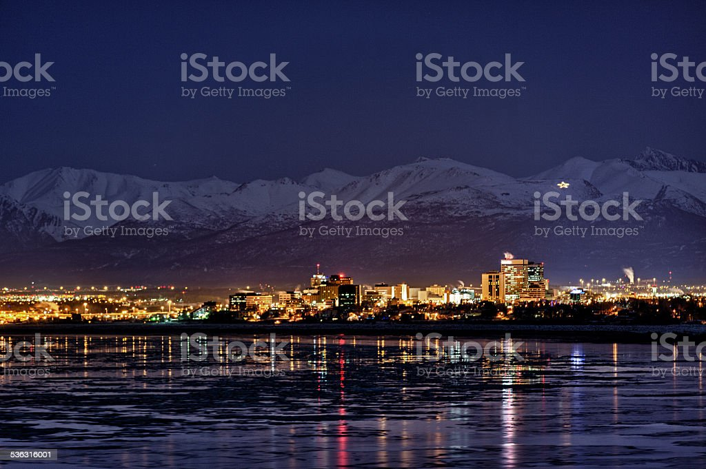 Anchorage at night in winter stock photo