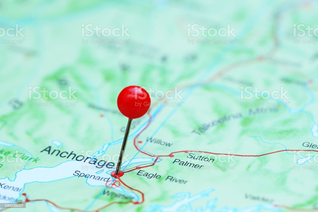 Anchorage pinned on a map of America stock photo