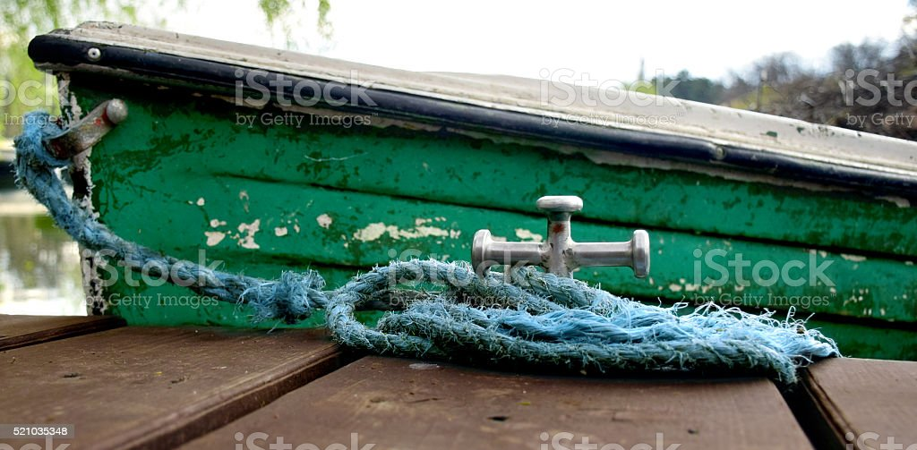 Anchored boat stock photo