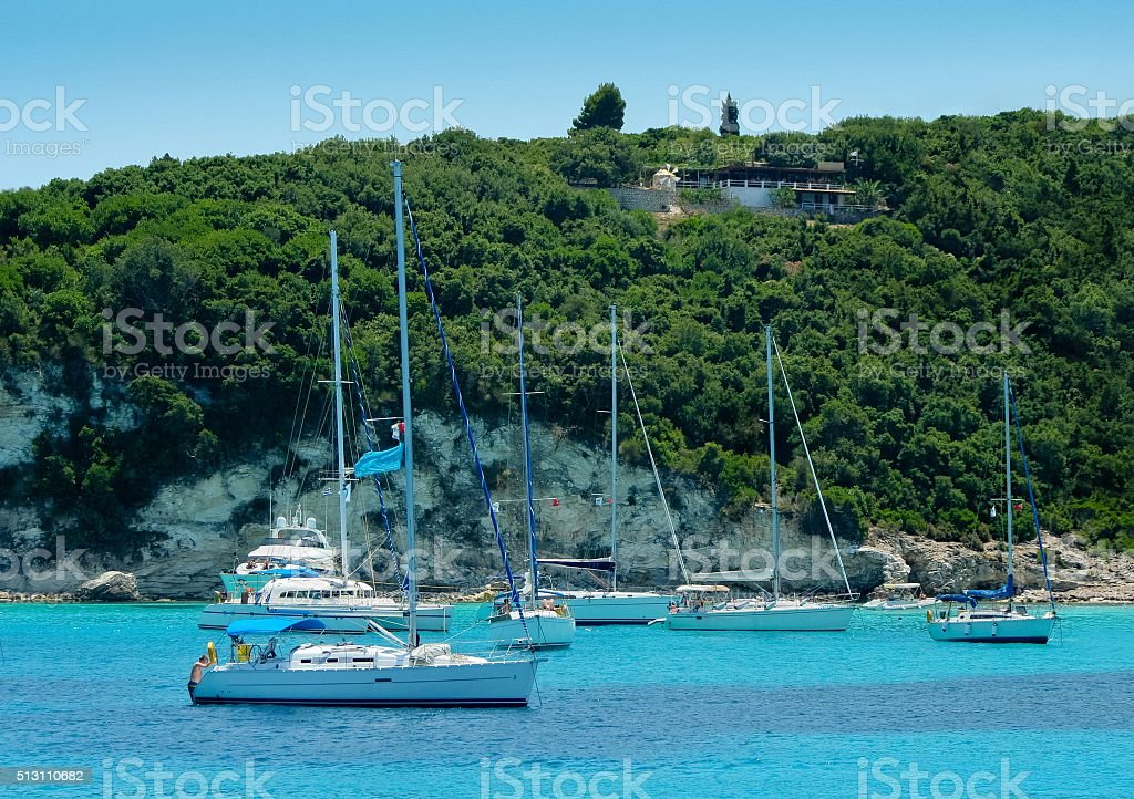 Anchored boats and yachts stock photo