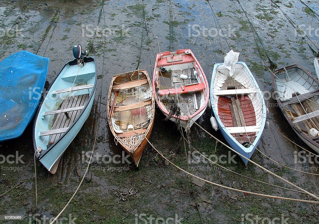 Anchored boats in the harbour royalty-free stock photo