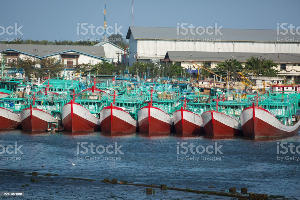 Anchored boats stock photo