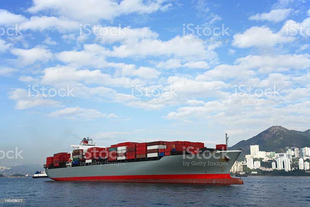 Anchored Container Ship royalty-free stock photo