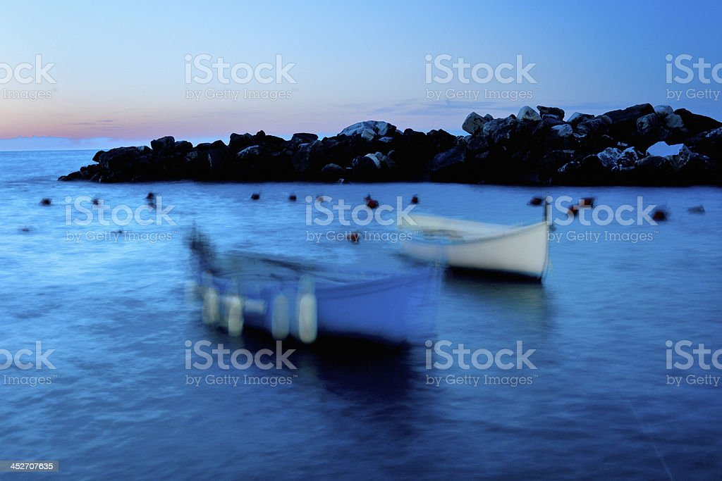 anchored down for the night royalty-free stock photo