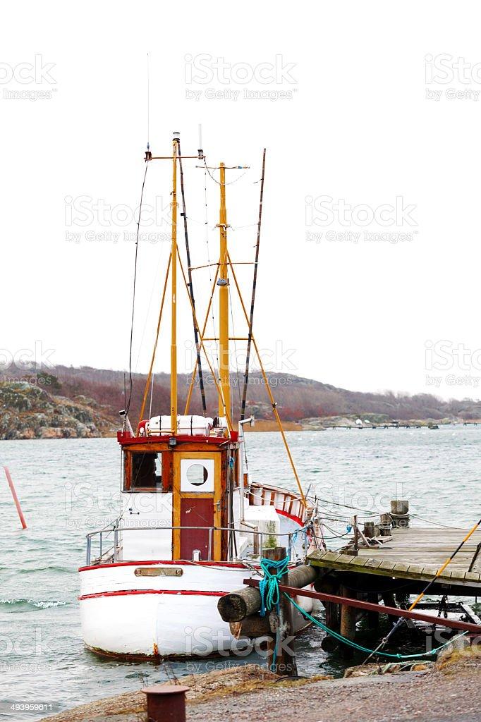 Anchored fishing boat royalty-free stock photo