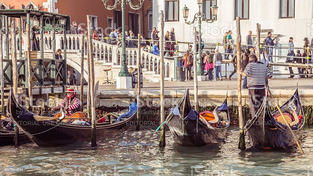 Anchored gondolas in Venice stock photo