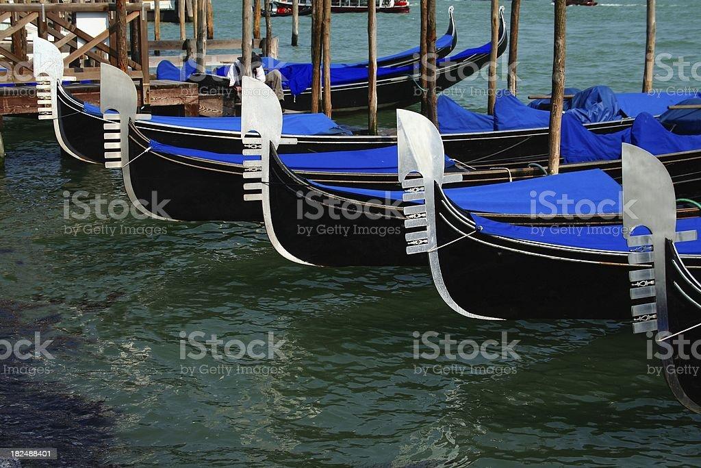 Anchored Gondolas royalty-free stock photo
