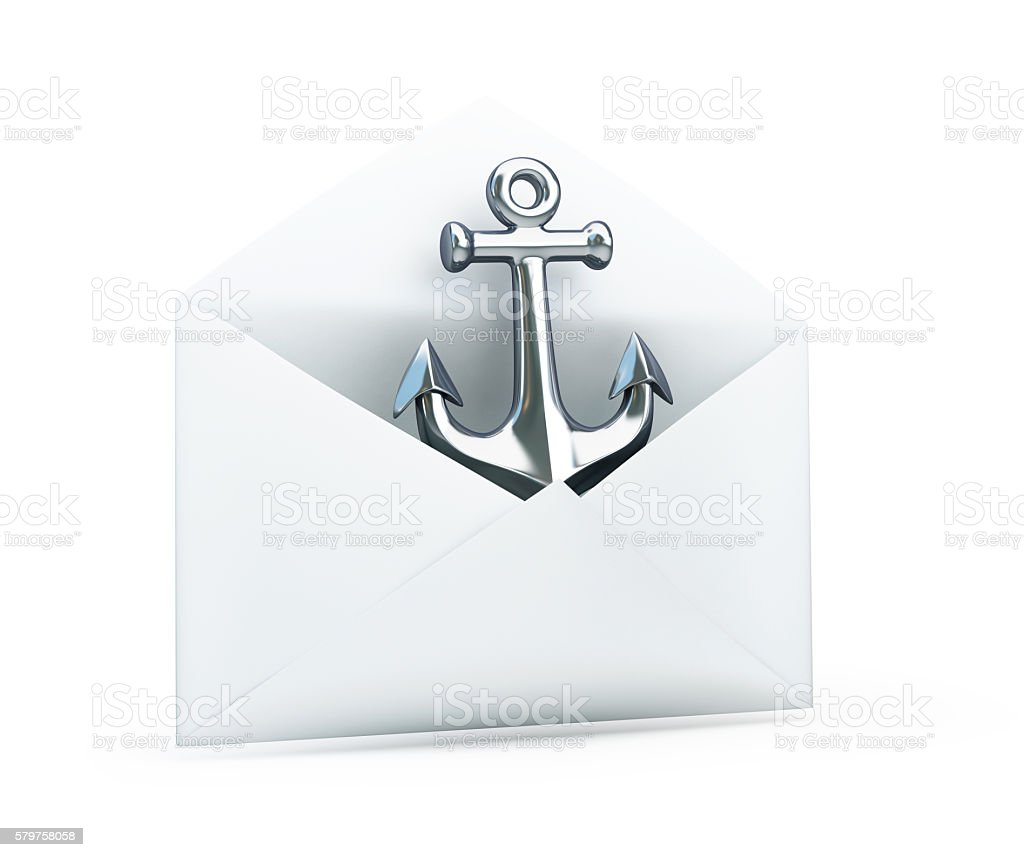 anchored in an open letter 3d Illustrations stock photo