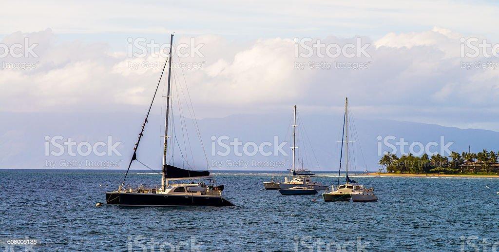anchored sailboats, lahaina, maui stock photo