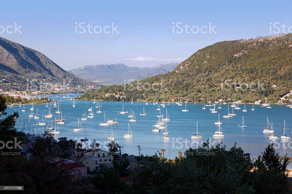 Anchored sailboats stock photo