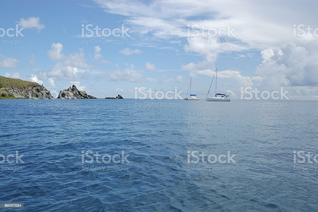 Anchored sailboats royalty-free stock photo