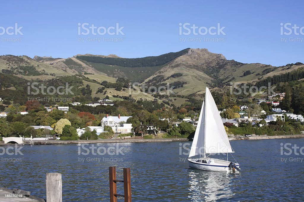 Anchored sailing boat stock photo