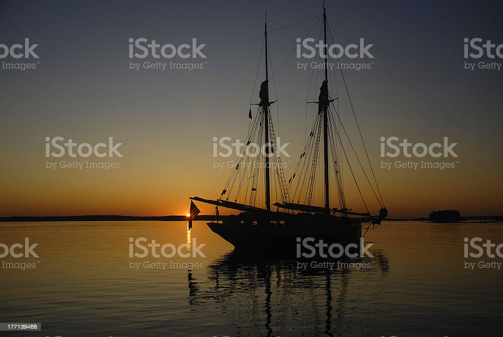 Anchored Windjammer at Sunset royalty-free stock photo