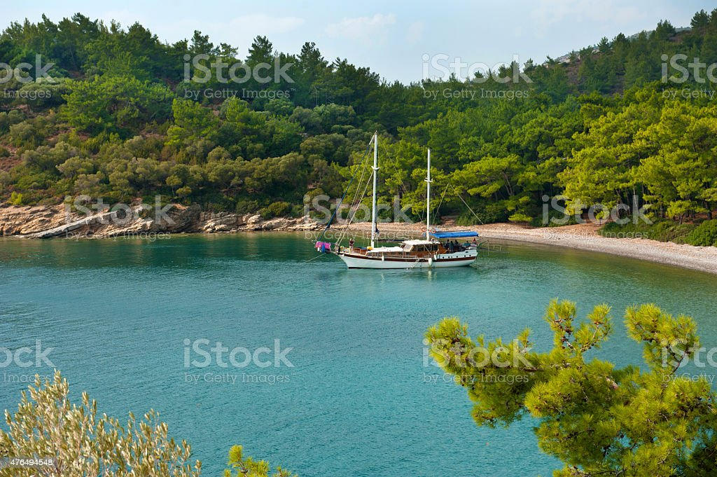 Anchored yacht stock photo