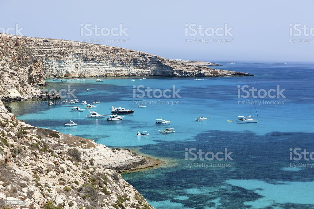 Anchored yachts stock photo