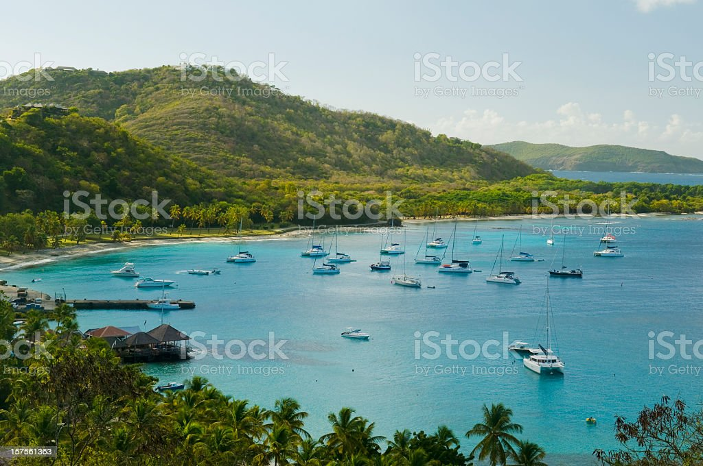 Anchoring ships in tropical bay stock photo