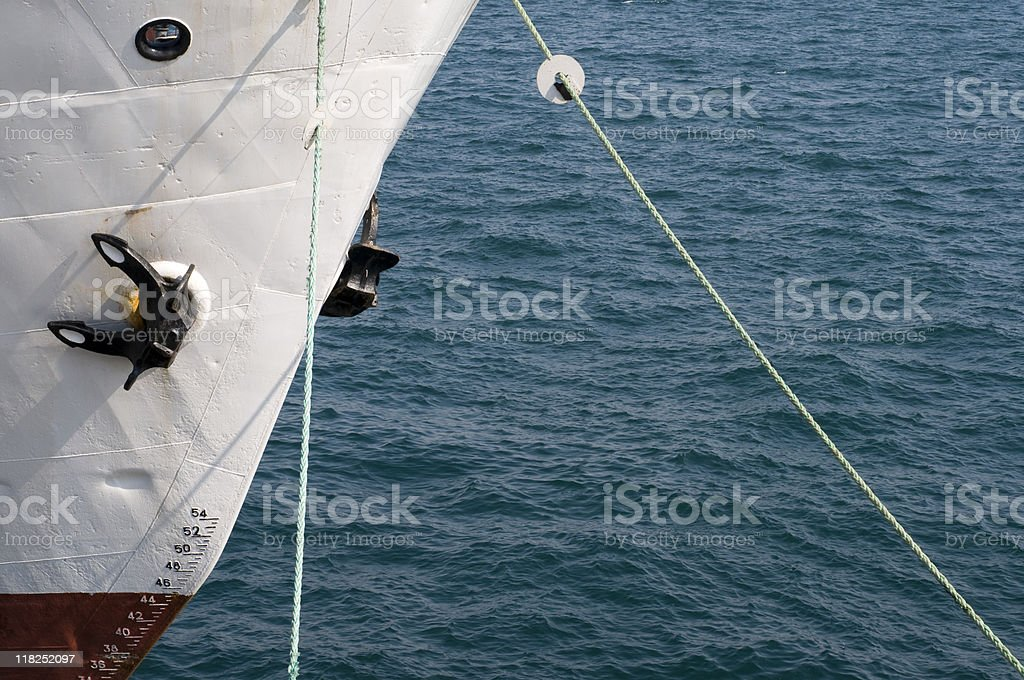 Anchors and depth markers of a passenger ship, Turkey, Istanbul royalty-free stock photo