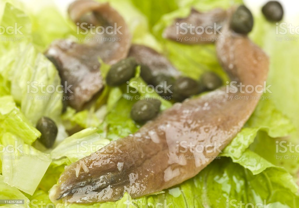 Anchovies and capers salad stock photo