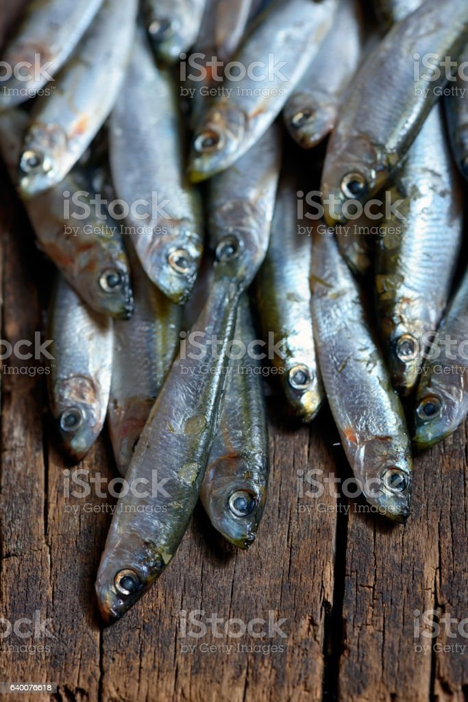 Anchovies (hamsi) on table wood stock photo