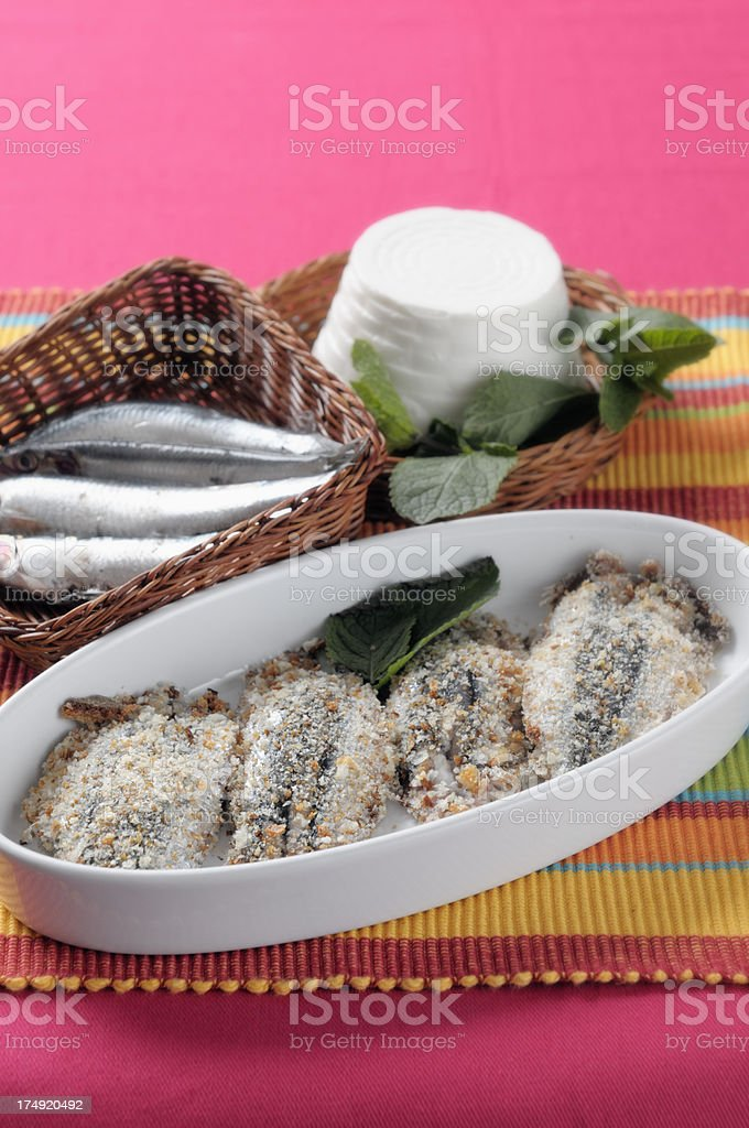 Anchovies stuffed with ricotta and mint royalty-free stock photo