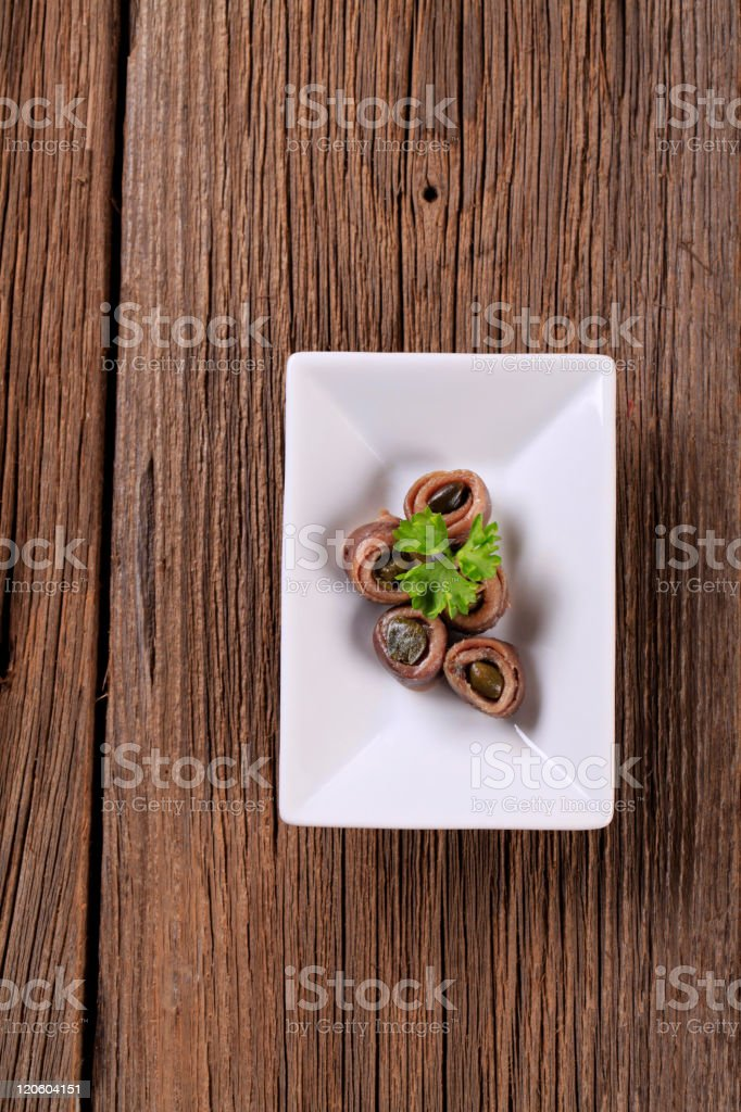 Anchovies with capers royalty-free stock photo