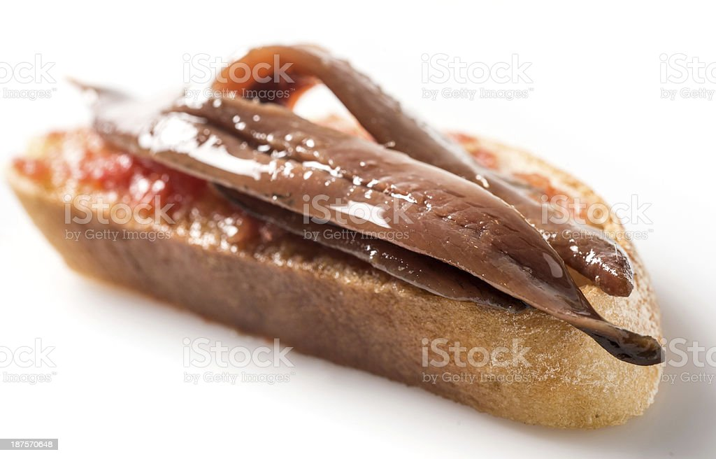 Anchovy canape stock photo