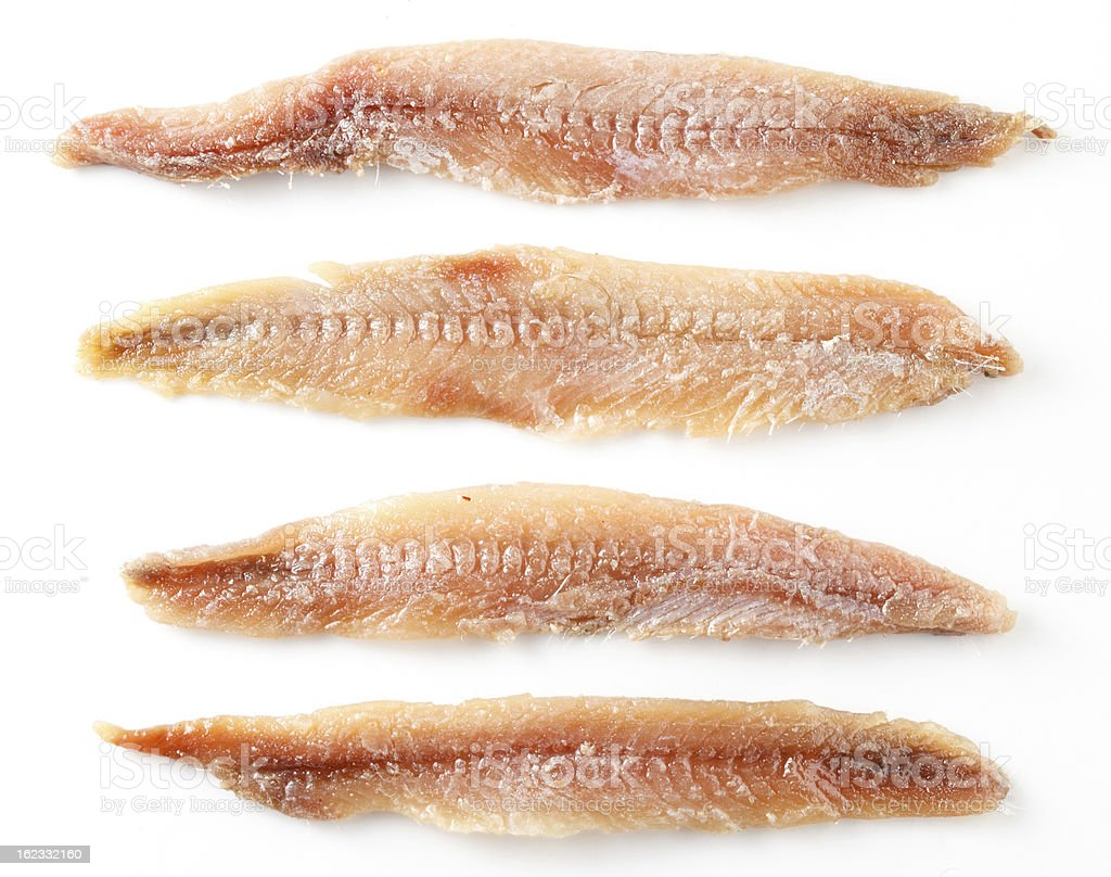 Anchovy. Fillet isolated on white stock photo