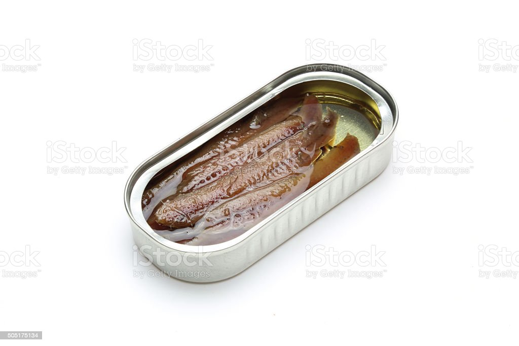 Anchovy in can stock photo
