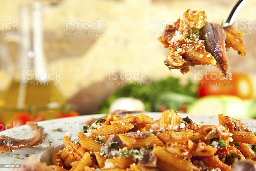 Anchovy Pasta royalty-free stock photo