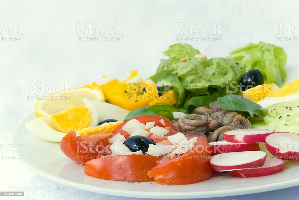 anchovy salad with mixed vegetable royalty-free stock photo