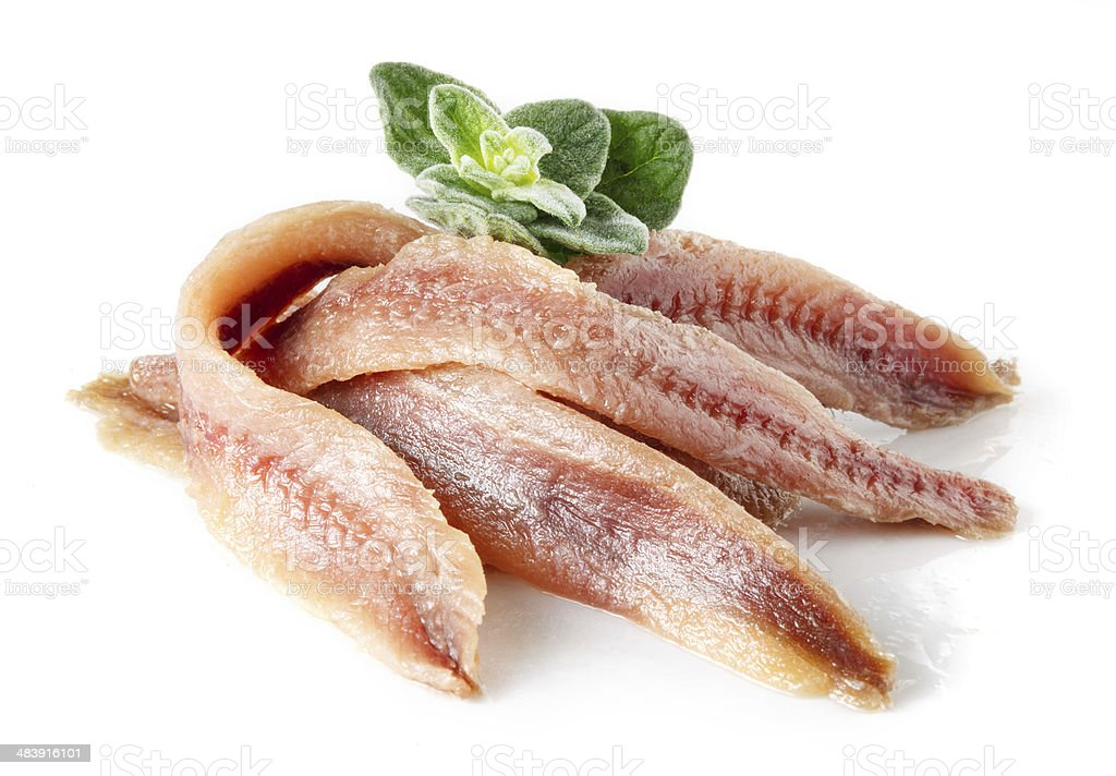 Anchovy with herbs and spice stock photo