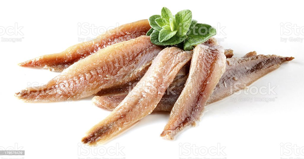 anchovy with herbs stock photo