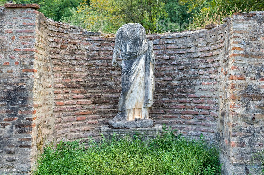 Anciant sculpture of a woman in Dion, Greece. royalty-free stock photo