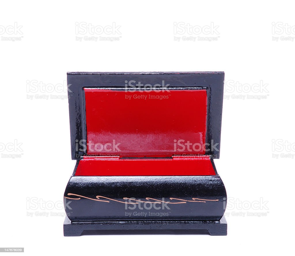 anciend old casket red and black stock photo