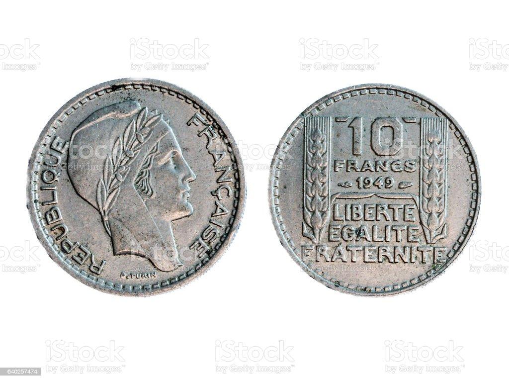 Ancienne pièce de monnaie française de 10 francs 1949 stock photo