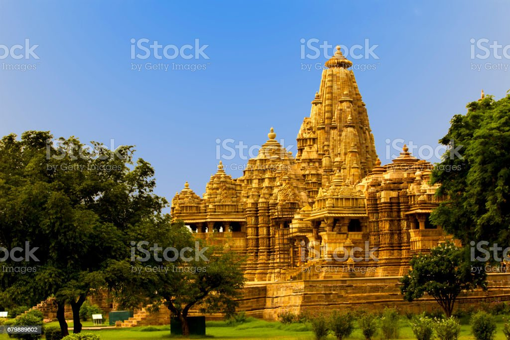 Ancient 10th century temple in Khajuraho, India stock photo