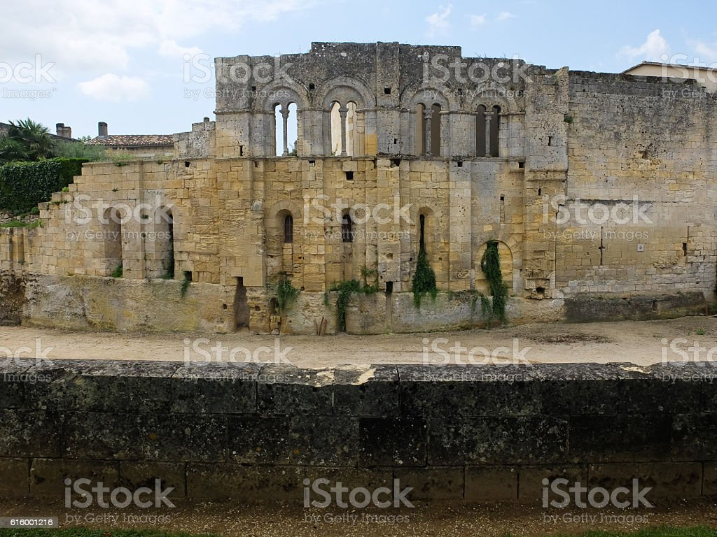 ancient abbey of sant Emilion in France stock photo