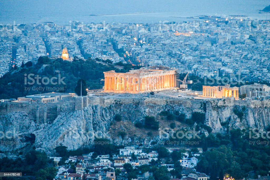 Ancient Acropolis in Athens, Greece seen from Mount Lycabettus stock photo