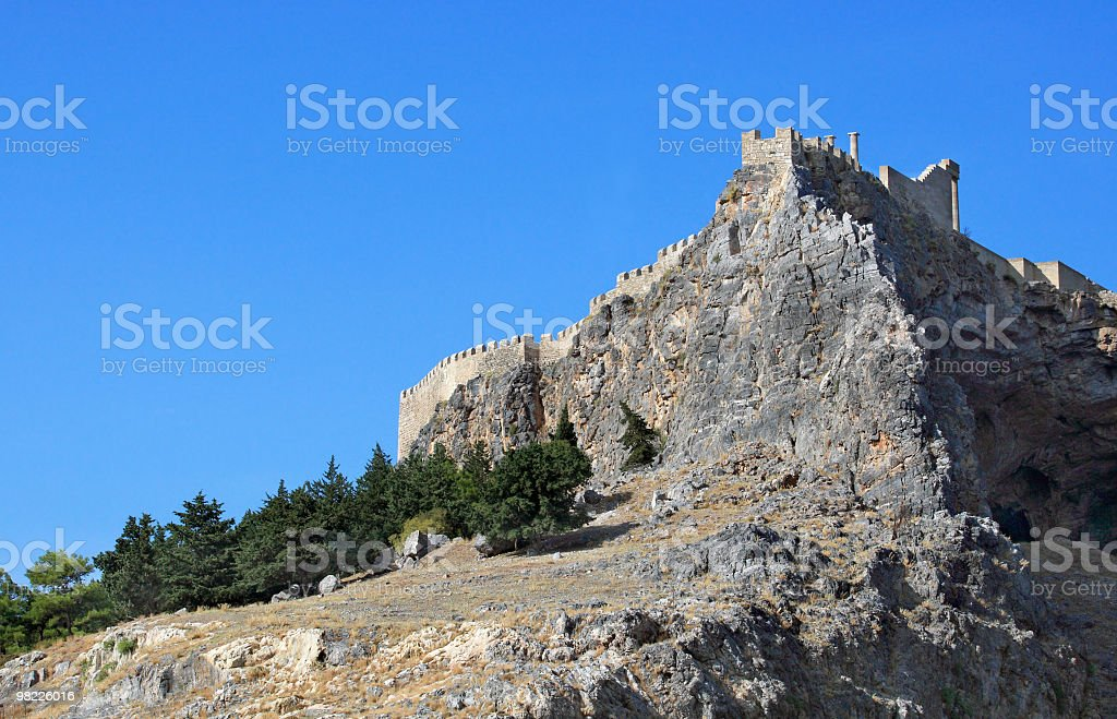 Ancient acropolis, Lindos - Rhodes Island - Greece royalty-free stock photo