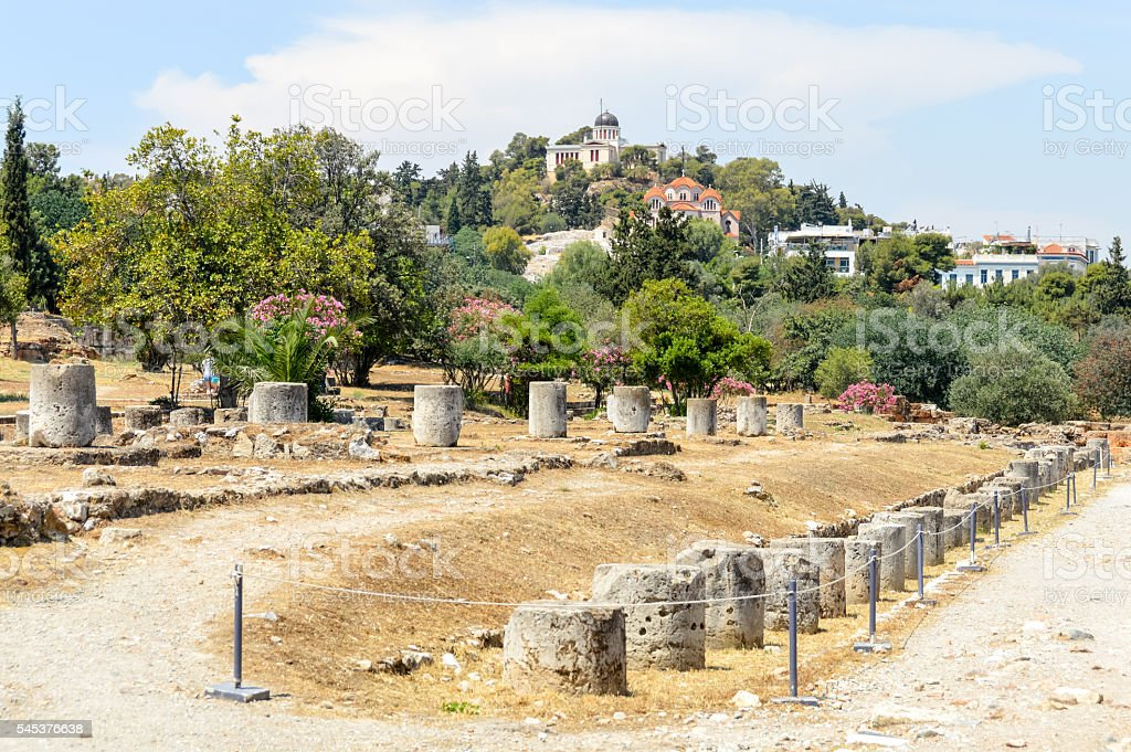 Ancient Agora in Athens, Greece stock photo