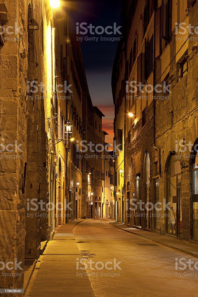 Ancient alley in Firenze at night royalty-free stock photo