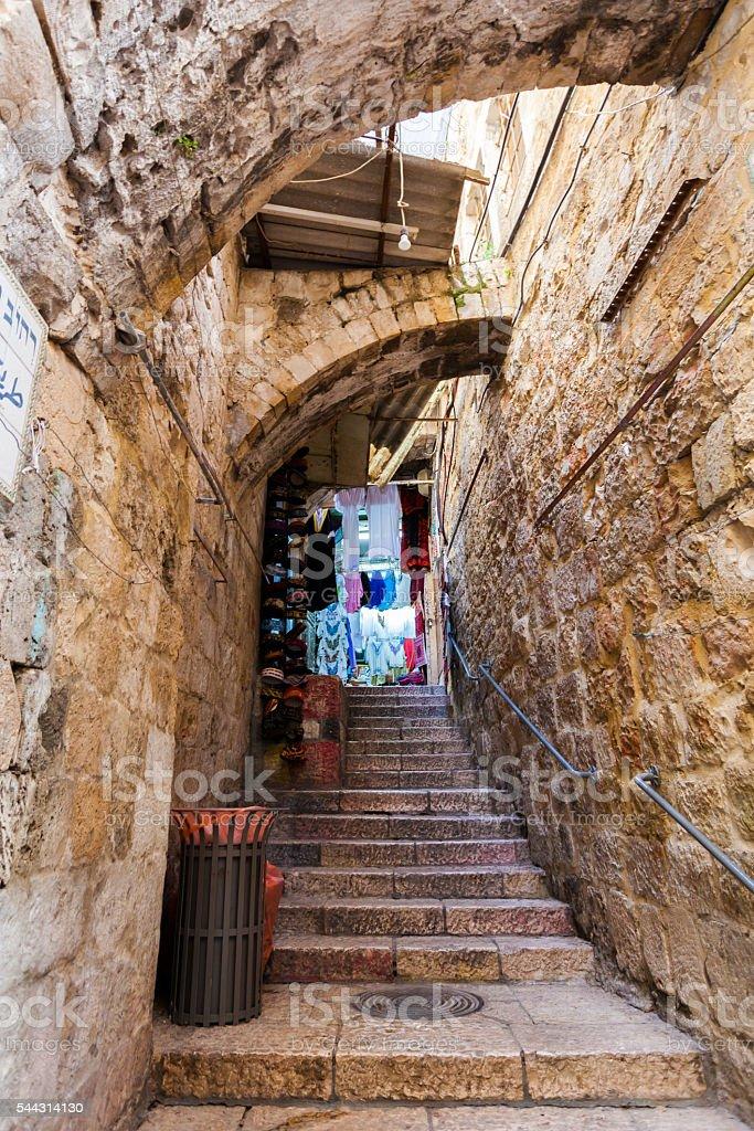 Ancient Alley in Jewish Quarter, Jerusalem. Israel. stock photo