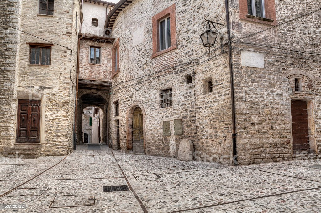 ancient alley in Spoleto, Umbria, Italy stock photo
