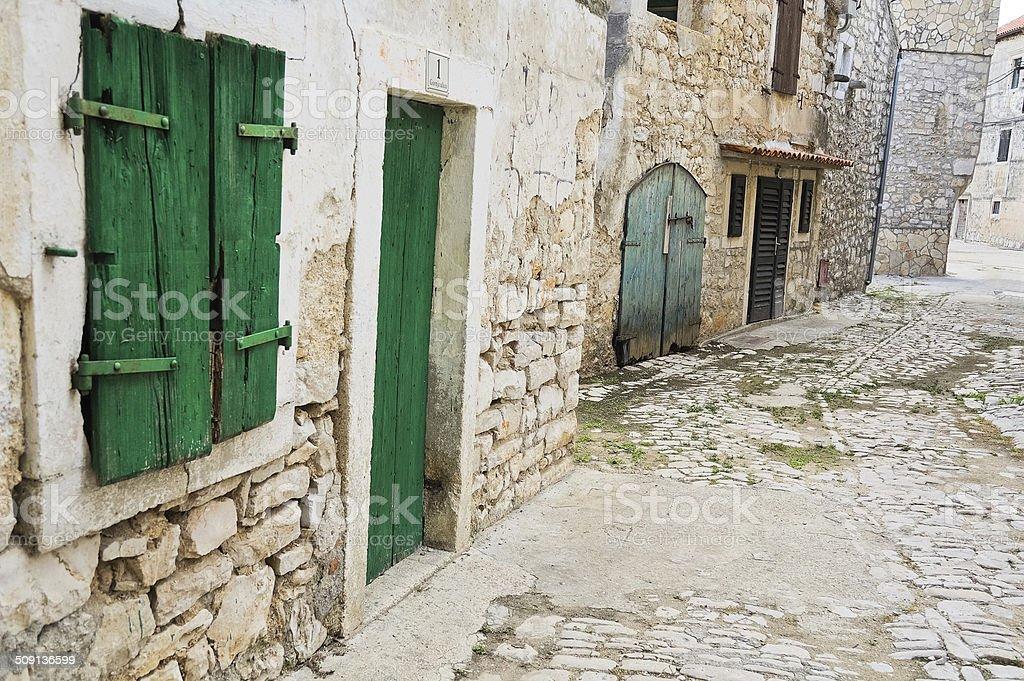 Ancient Alley in Tribunj Croatia stock photo