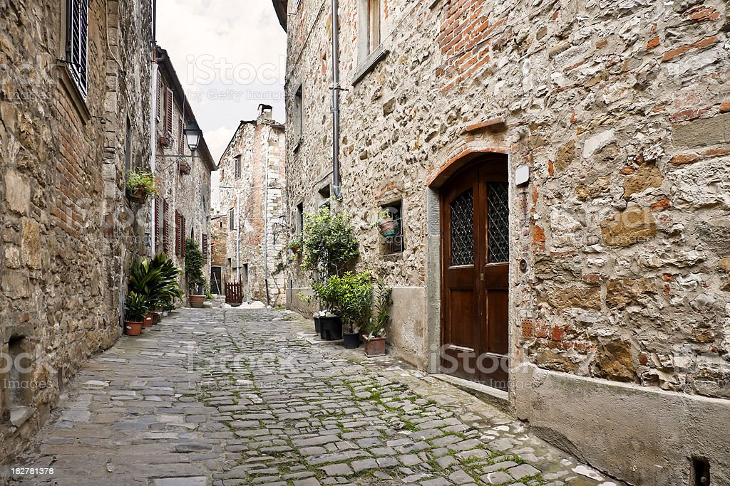 Ancient Alley in Tuscan Village, Chianti Region royalty-free stock photo