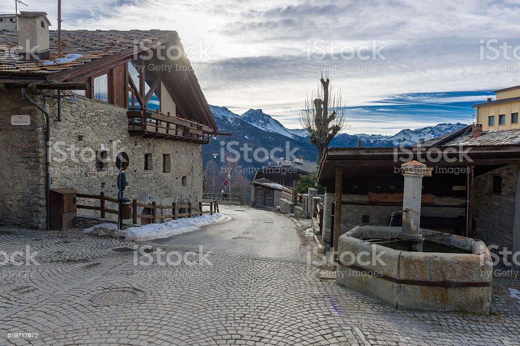 Ancient alpine village of Sauze d'Oulx stock photo