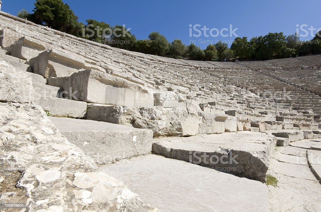 Ancient amphitheater of Epidaurus at Greece royalty-free stock photo